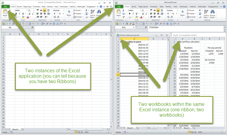 Instances vs. Separate Application Windows in Excel